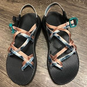 Custom rose gold and blue double strap Chacos
